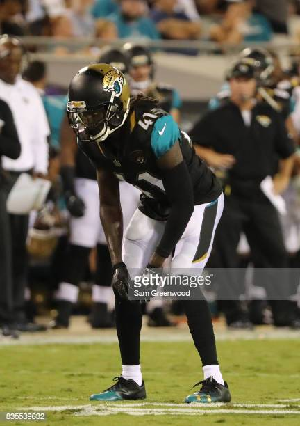 Tim Cook of the Jacksonville Jaguars in action during a preseason game against the Tampa Bay Buccaneers at EverBank Field on August 17 2017 in...