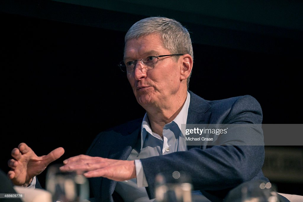 Tim Cook president and CEO of Apple Inc discusses the interaction between business and climate with Christina Figueres the Executive Secretary of the...