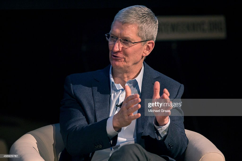 <a gi-track='captionPersonalityLinkClicked' href=/galleries/search?phrase=Tim+Cook+-+Business+Executive&family=editorial&specificpeople=8084206 ng-click='$event.stopPropagation()'>Tim Cook</a>, president and CEO of Apple, Inc., discusses the interaction between business and climate with Christina Figueres (not seen), the Executive Secretary of the United Nations Framework Convention on Climate Change (UNFCC), during a New York City Climate Week event at the Morgan Library on September 22, 2014 in New York City. Leaders from all over the world will meet to discuss global warming and evironmental issues ahead of the U.N. summit.
