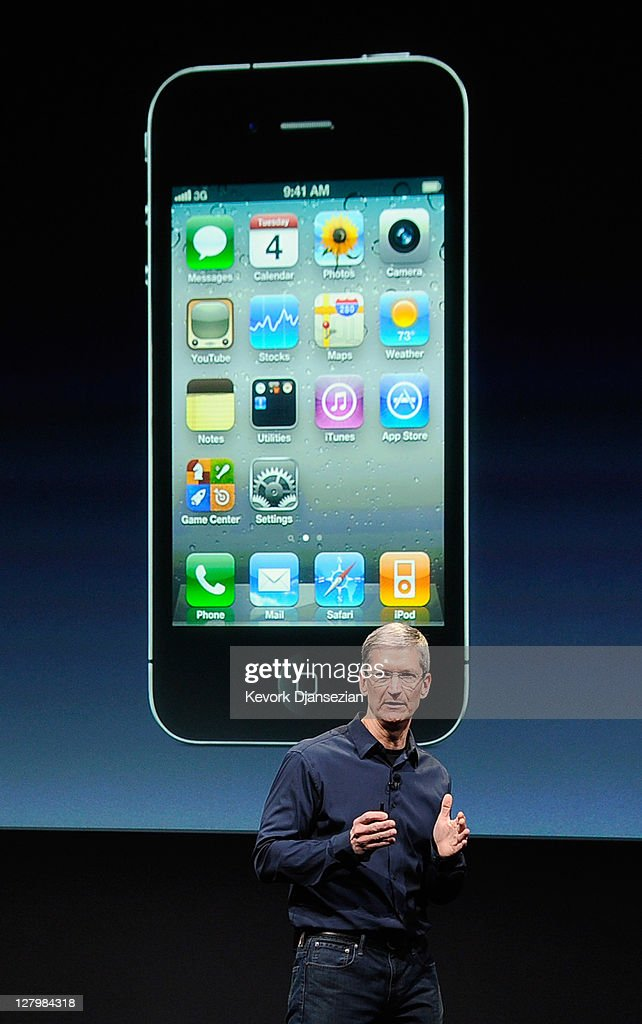 Tim Cook speaks at the event introducing the new iPhone 4s at the company's headquarters October 4, 2011 in Cupertino, California. The announcement marks the first time Cook introduces a new product since Apple co-founder Steve Jobs resigned in August. October 4, 2011 in Cupertino, California.