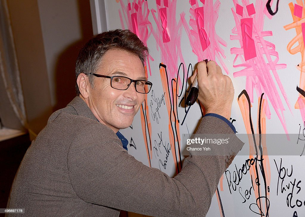 Tim Daly signs the wall at AOL BUILD presents: Tim Daly discusses 'The Daly Show' at AOL Studios In New York on November 12, 2015 in New York City.