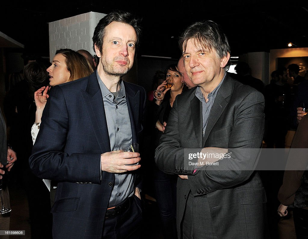 Tim de Lisle (L) and Dejan Sudjic attend the launch of the Vertu Ti at the London Film Museum, Covent Garden on February 12, 2013 in London, England.