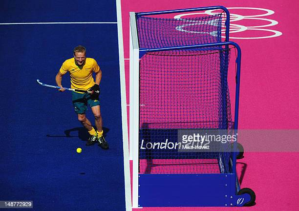 Tim Deavin of Australia in action during a Australia men's hockey practise session at the Riverbank Arena in the Olympic Park on July 19 2012 in...
