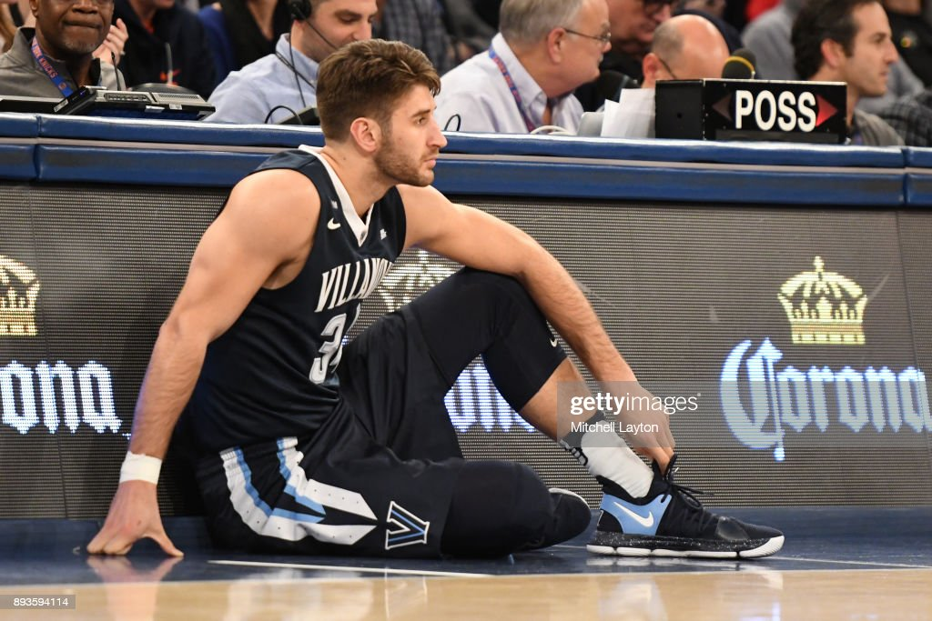 Tim Delaney #34 of the Villanova Wildcats prepares to enter the game during the Jimmy V Classic college basketball game against the Gonzaga Bulldogs at Madison Square Garden on December 5, 2017 in New York City. The Wildcats won 88-72.