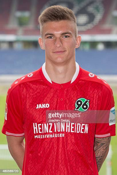 Tim Dierssen poses during a team presentation for Hannover 96 at HDIArena on July 13 2015 in Hanover Germany