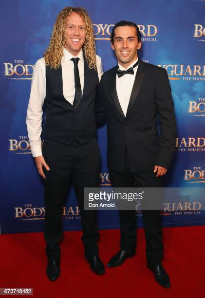 Tim Dormer and Ash Toweel arrives ahead of opening night of The Bodyguard The Musical at Lyric Theatre Star City on April 27 2017 in Sydney Australia