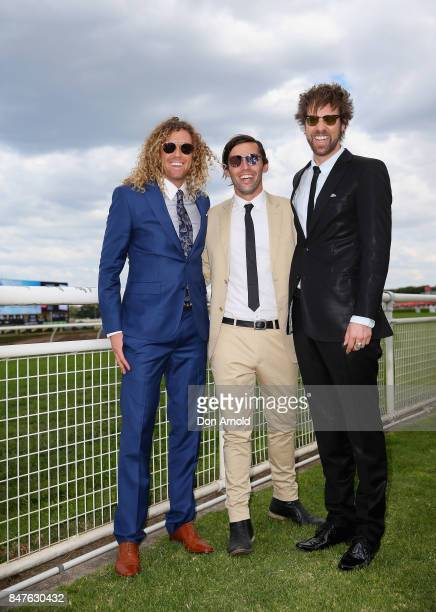 Tim Dormer Ash Toweel and Danny Clayton attends Colgate Optic White Stakes Day at Royal Randwick Racecourse on September 16 2017 in Sydney Australia