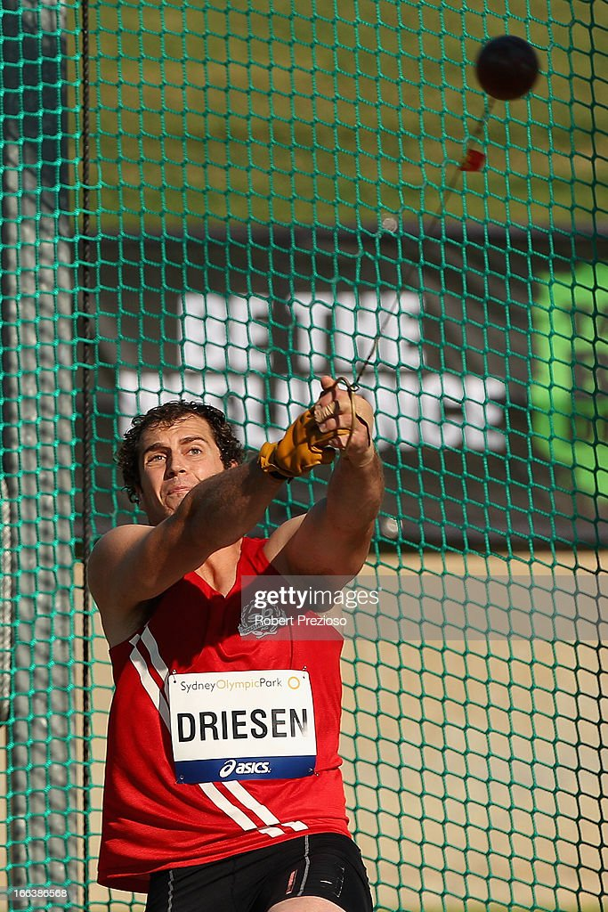 Tim Driesen of VIC competes in Men Hammer Throw Open during day two of the Australian Athletics Championships at Sydney Olympic Park Athletic Centre on April 12, 2013 in Sydney, Australia.