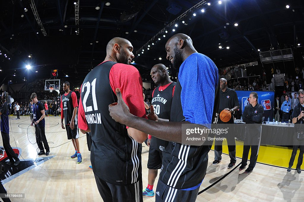 Tim Duncan #21 and Kevin Garnett of the Boston Celtics talk during the NBA All-Star Practice in Sprint Arena at Jam Session at Jam Session during NBA All Star Weekend on February 16, 2013 at the George R. Brown Convention Center in Houston, Texas.