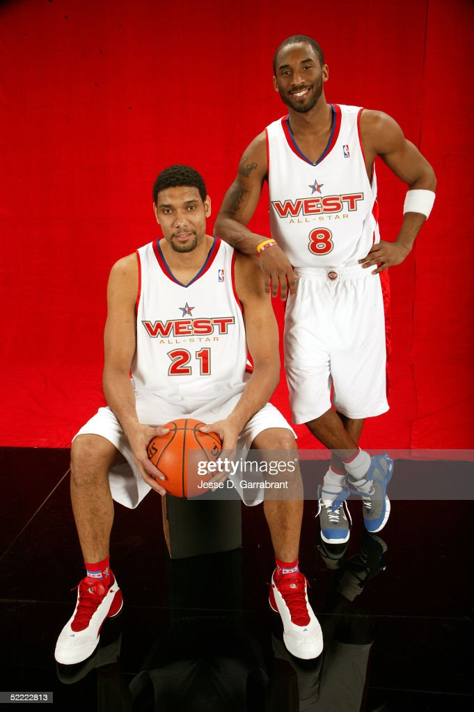 Tim Duncan #21 and Kobe Bryant #8 of the Western Conference All-Stars pose for a portrait prior to the 2005 NBA All-Star Game at The Pepsi Center on February 20, 2005 in Denver, Colorado.