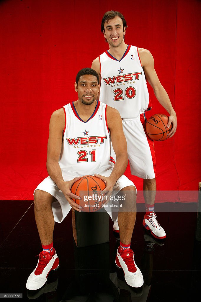 Tim Duncan #21 and Manu Ginobili #20 of the Western Conference All-Stars pose for a portrait prior to the 2005 NBA All-Star Game at The Pepsi Center on February 20, 2005 in Denver, Colorado.
