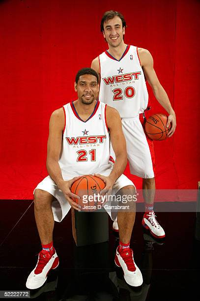 Tim Duncan and Manu Ginobili of the Western Conference AllStars pose for a portrait prior to the 2005 NBA AllStar Game at The Pepsi Center on...