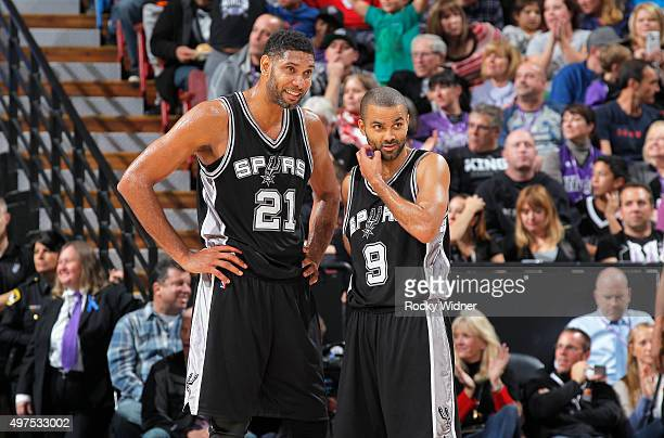 Tim Duncan and Tony Parker of the San Antonio Spurs face off against the Sacramento Kings on November 9 2015 at Sleep Train Arena in Sacramento...