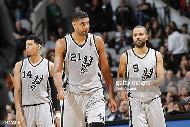 Tim Duncan Danny Green and Tony Parker of the San Antonio Spurs during the game against the Memphis Grizzlies on November 21 2015 at ATT Center in...
