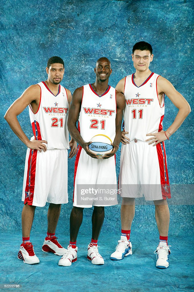 Tim Duncan #21, Kevin Garnett #21 and Yao Ming #11 of the Western Conference All-Stars poses for a portrait prior to the 2005 NBA All-Star Game at The Pepsi Center on February 20, 2005 in Denver, Colorado.