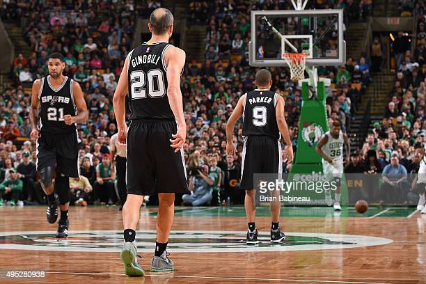 Tim Duncan Manu Ginobili and Tony Parker of the San Antonio Spurs are seen during the game on November 1 2015 at the TD Garden in Boston...