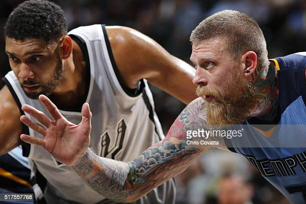 Tim Duncan of the San Antonio Spurs and Chris Andersen of the Memphis Grizzlies are seen on March 25 2016 at the ATT Center in San Antonio Texas NOTE...