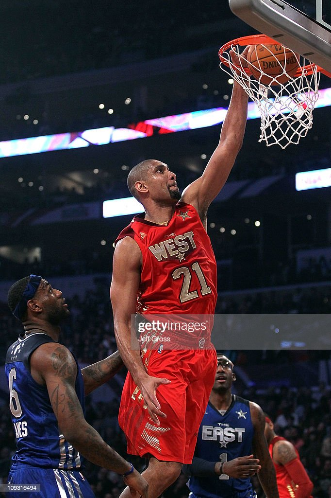 Tim Duncan of the San Antonio Spurs and the Western Conference dunks the ball in the first quarter of the 2011 NBA AllStar Game at Staples Center on...