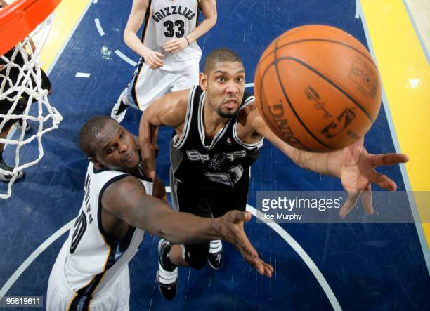 Tim Duncan of the San Antonio Spurs and Zach Randolph of the Memphis Grizzlies fight for a rebound on January 16 2010 at FedExForum in Memphis...