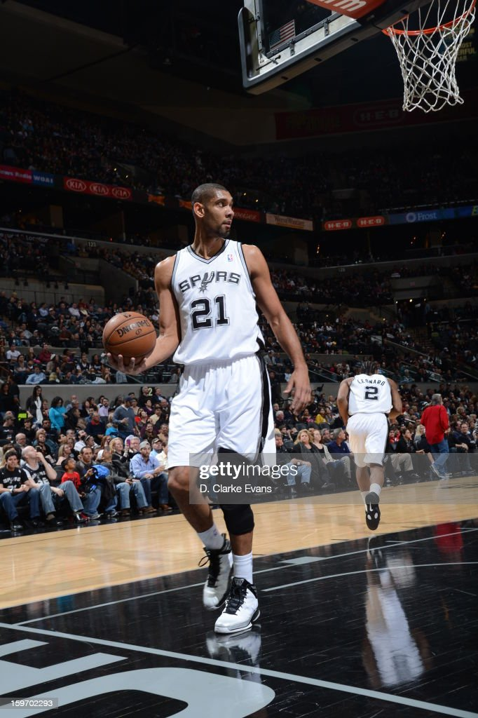 <a gi-track='captionPersonalityLinkClicked' href=/galleries/search?phrase=Tim+Duncan&family=editorial&specificpeople=201467 ng-click='$event.stopPropagation()'>Tim Duncan</a> #21 of the San Antonio Spurs attempts to inbound the ball in a game on January 18, 2013 at the AT&T Center in San Antonio, Texas.