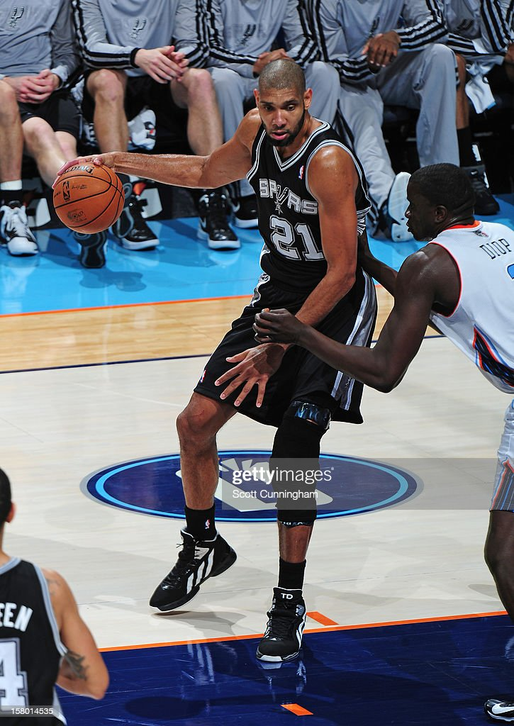 Tim Duncan #21 of the San Antonio Spurs backs up to the basket against the Charlotte Bobcats at Time Warner Cable Arena on December 8, 2012 in Charlotte, North Carolina.