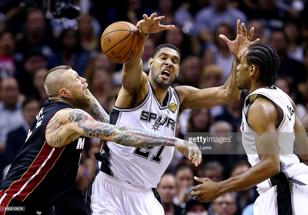 Tim Duncan #21 of the San Antonio Spurs battles for a rebound against Chris Andersen #11 of the Miami Heat during Game Two of the 2014 NBA Finals at the AT&T Center on June 8, 2014 in San Antonio, Texas.
