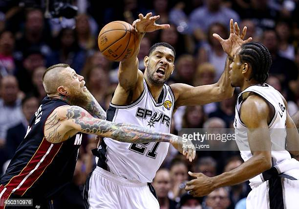 Tim Duncan of the San Antonio Spurs battles for a rebound against Chris Andersen of the Miami Heat during Game Two of the 2014 NBA Finals at the ATT...