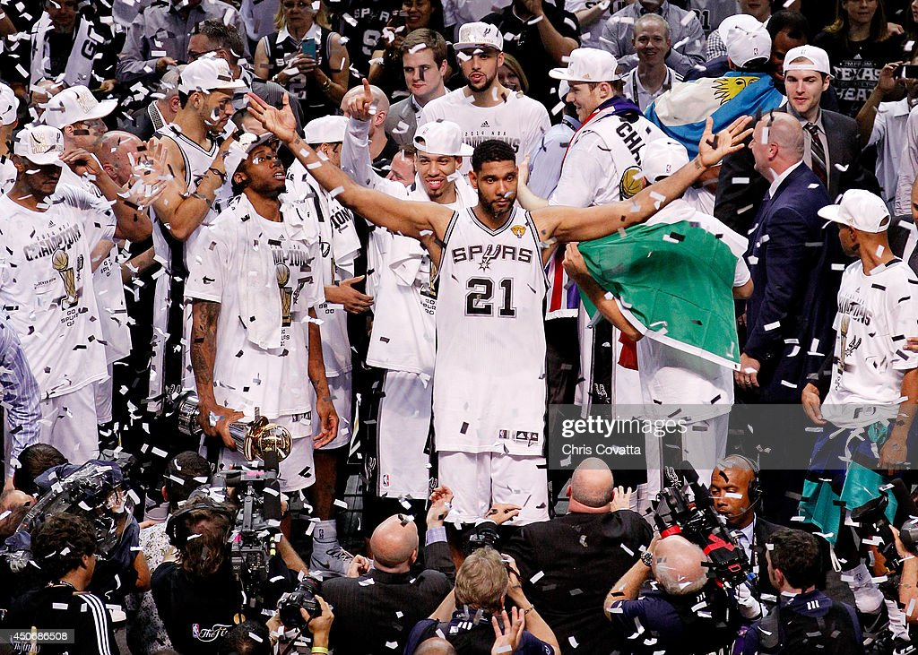Tim Duncan #21 of the San Antonio Spurs celebrates after defeating the Miami Heat in Game Five of the 2014 NBA Finals at the AT&T Center on June 15, 2014 in San Antonio, Texas.