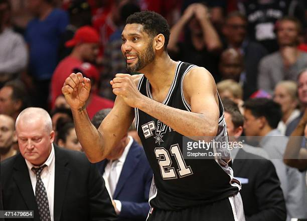 Tim Duncan of the San Antonio Spurs celebrates in the final seconds after the Spurs sealed the victory against the Los Angeles Clippers during Game...