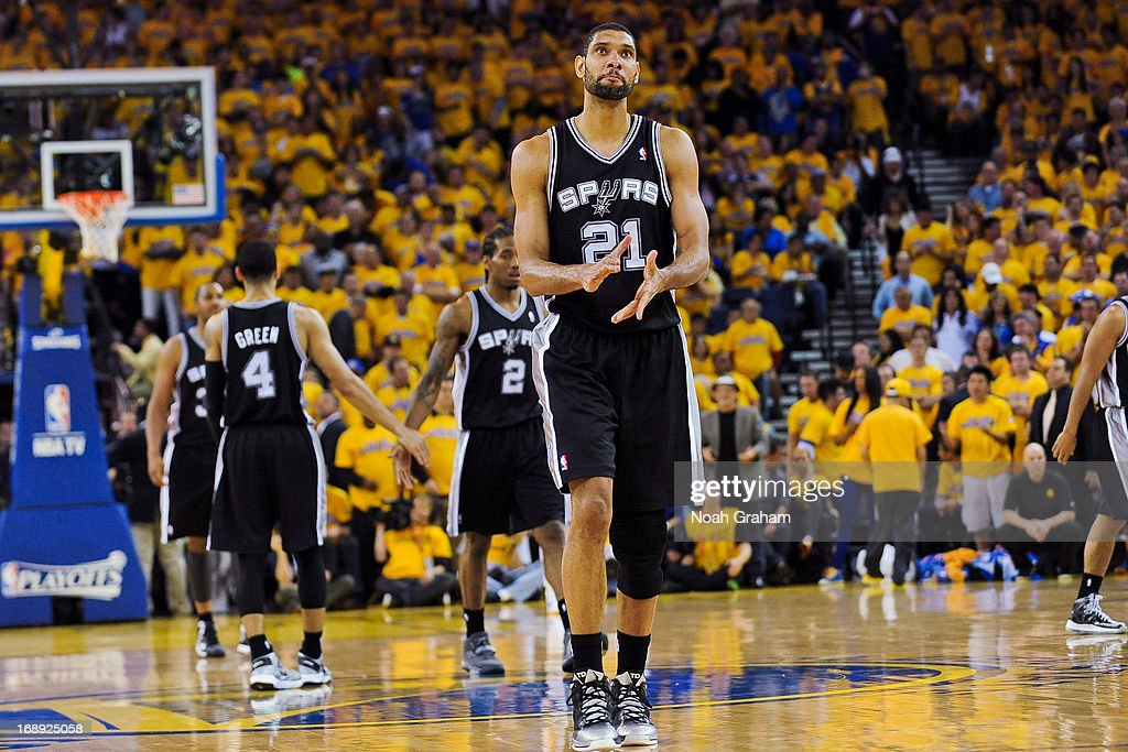 Tim Duncan #21 of the San Antonio Spurs celebrates while playing the Golden State Warriors in Game Six of the Western Conference Semifinals during the 2013 NBA Playoffs on May 16, 2013 at Oracle Arena in Oakland, California.