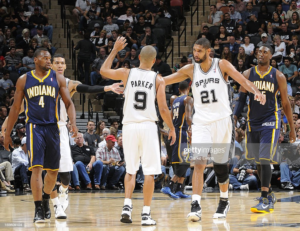 <a gi-track='captionPersonalityLinkClicked' href=/galleries/search?phrase=Tim+Duncan&family=editorial&specificpeople=201467 ng-click='$event.stopPropagation()'>Tim Duncan</a> #21 of the San Antonio Spurs celebrates with teammates during the game between the Indiana Pacers and the San Antonio Spurs on November 5, 2012 at the AT&T Center in San Antonio, Texas.