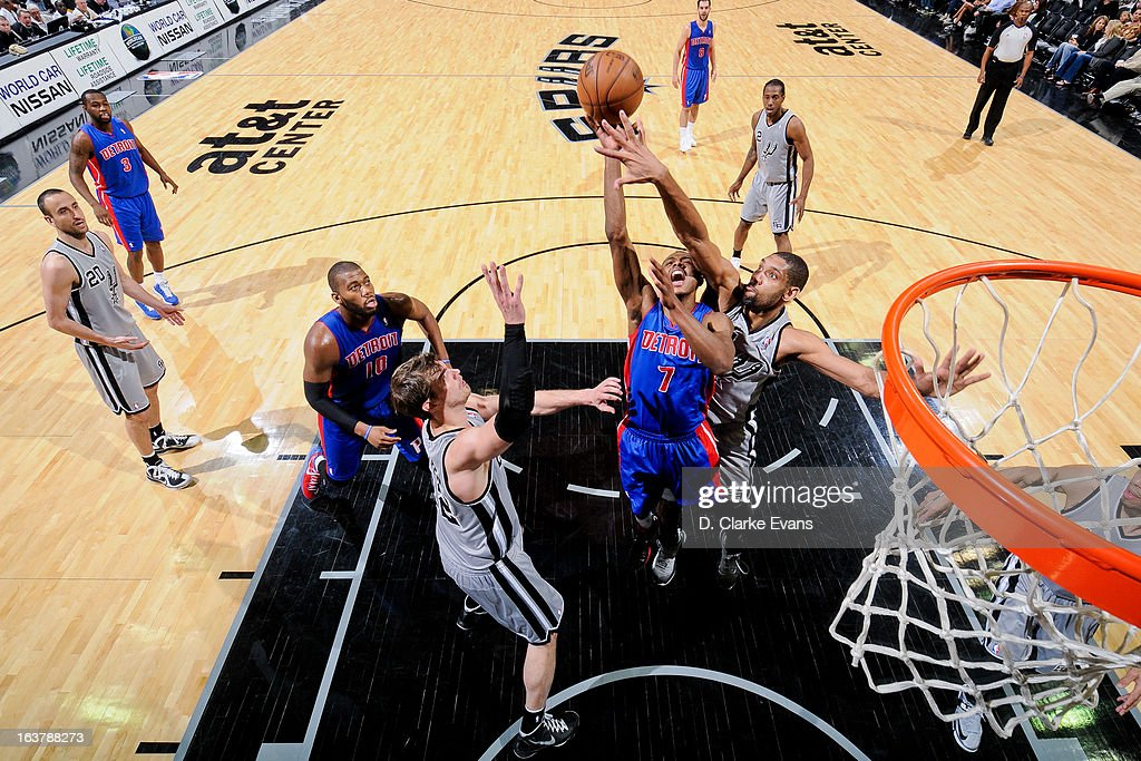 Tim Duncan #21 of the San Antonio Spurs contests a shot attempt by Brandon Knight #7 of the Detroit Pistons on March 3, 2013 at the AT&T Center in San Antonio, Texas.