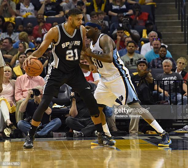 Tim Duncan of the San Antonio Spurs dribbles against Zach Randolph of the Memphis Grizzlies during the second half of Game Four of the First Round of...