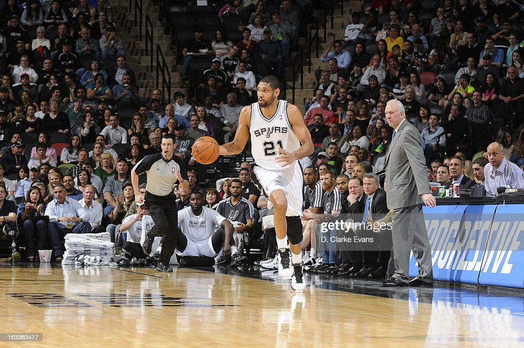 <a gi-track='captionPersonalityLinkClicked' href=/galleries/search?phrase=Tim+Duncan&family=editorial&specificpeople=201467 ng-click='$event.stopPropagation()'>Tim Duncan</a> #21 of the San Antonio Spurs dribbles the ball up the floor against the Portland Trail Blazers on MARCH 8, 2013 at the AT&T Center in San Antonio, Texas.