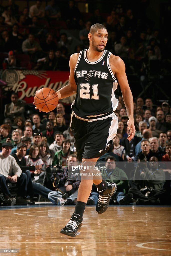 <a gi-track='captionPersonalityLinkClicked' href=/galleries/search?phrase=Tim+Duncan&family=editorial&specificpeople=201467 ng-click='$event.stopPropagation()'>Tim Duncan</a> #21 of the San Antonio Spurs drives the ball up court during the game against the New York Knicks on February 17, 2009 at Madison Square Garden in New York City. The Knicks won 112-107.