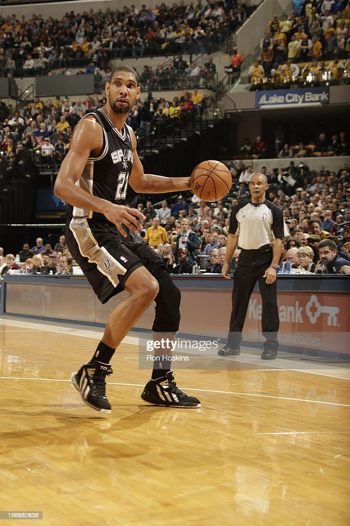 <a gi-track='captionPersonalityLinkClicked' href=/galleries/search?phrase=Tim+Duncan&family=editorial&specificpeople=201467 ng-click='$event.stopPropagation()'>Tim Duncan</a> #21 of the San Antonio Spurs drives to the hoop vs the Indiana Pacers on November 23, 2012 at Bankers Life Fieldhouse in Indianapolis, Indiana.