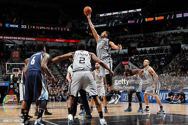 Tim Duncan of the San Antonio Spurs goes for the ball against the Memphis Grizzlies during the game on November 21 2015 at ATT Center in San Antonio...