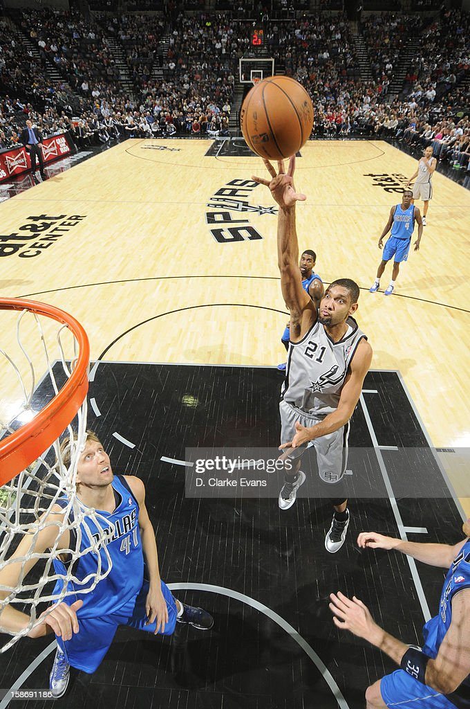 <a gi-track='captionPersonalityLinkClicked' href=/galleries/search?phrase=Tim+Duncan&family=editorial&specificpeople=201467 ng-click='$event.stopPropagation()'>Tim Duncan</a> #21 of the San Antonio Spurs goes to the basket during the game between the Dallas Mavericks and the San Antonio Spurs on December 23, 2012 at the AT&T Center in San Antonio, Texas.