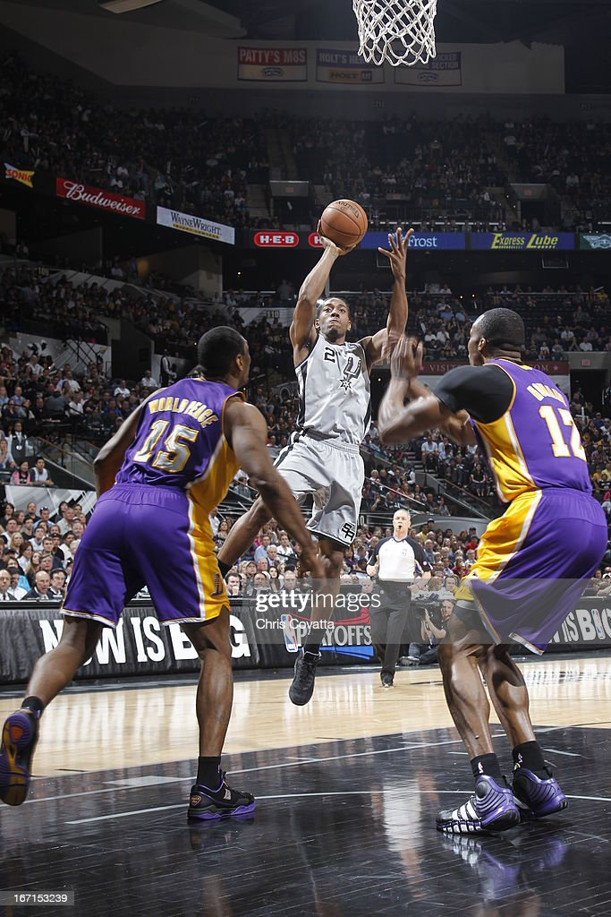 Tim Duncan #21 of the San Antonio Spurs goes to the basket during the Game One of the Western Conference Quarterfinals between the Los Angeles Lakers and the San Antonio Spurs on April 21, 2013 at the AT&T Center in San Antonio, Texas.