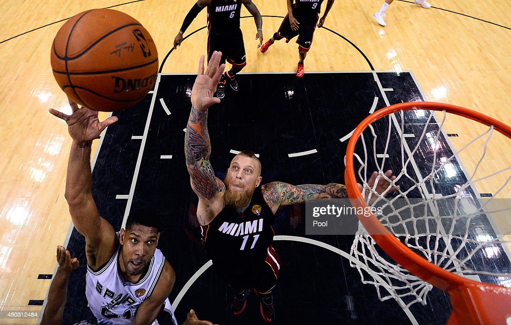 <a gi-track='captionPersonalityLinkClicked' href=/galleries/search?phrase=Tim+Duncan&family=editorial&specificpeople=201467 ng-click='$event.stopPropagation()'>Tim Duncan</a> #21 of the San Antonio Spurs goes up for a shot as Chris Andersen #11 of the Miami Heat defends during Game Two of the 2014 NBA Finals at the AT&T Center on June 8, 2014 in San Antonio, Texas.