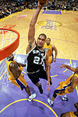 Tim Duncan of the San Antonio Spurs goes up to dunk against the Los Angeles Lakers in Game Three of the Western Conference Semifinals during the 2003...