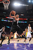Tim Duncan of the San Antonio Spurs grabs a rebound against the Los Angeles Lakers at Staples Center on April 14 2013 in Los Angeles California NOTE...