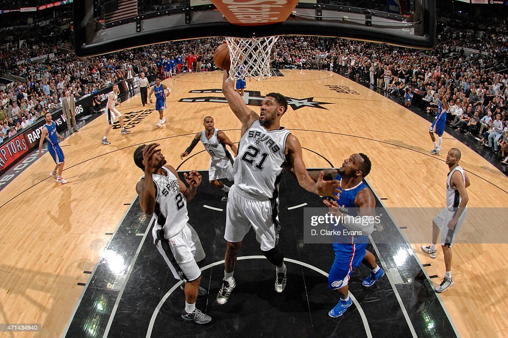 Tim Duncan #21 of the San Antonio Spurs grabs a rebound against the Los Angeles Clippers in Game Four of the Western Conference Quarterfinals during the 2015 NBA Playoffs on April 26, 2015 at the AT&T Center in San Antonio, Texas.