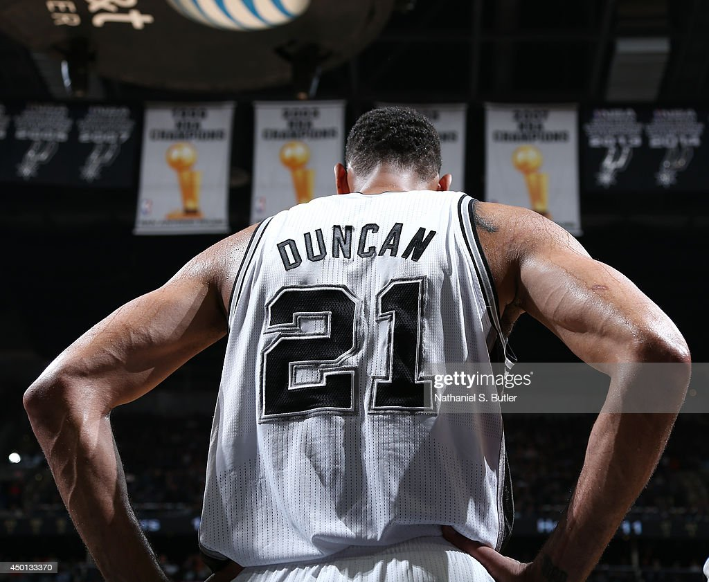 Tim Duncan #21 of the San Antonio Spurs in Game One of the 2014 NBA Finals at AT&T Center on June 5, 2014 in San Antonio, Texas.