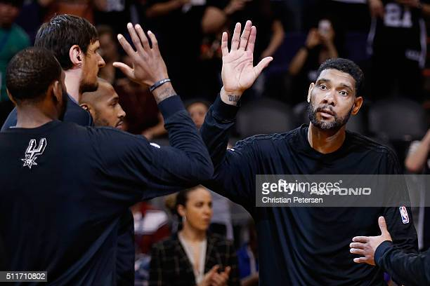 Tim Duncan of the San Antonio Spurs is introduced before the NBA game against the Phoenix Suns at Talking Stick Resort Arena on February 21 2016 in...
