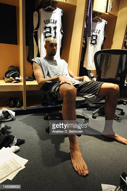 Tim Duncan of the San Antonio Spurs is seen in a dressing room during Game One of the Western Conference Finals between the San Antonio Spurs and the...