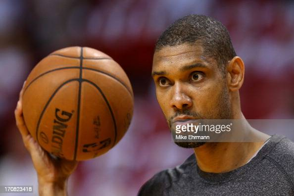 Tim Duncan of the San Antonio Spurs looks on before taking on the Miami Heat in Game Six of the 2013 NBA Finals at AmericanAirlines Arena on June 18...