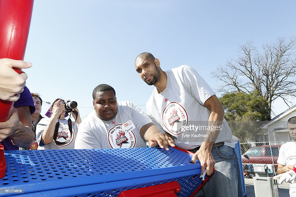 Tim Duncan #21 of the San Antonio Spurs participates at the 2013 NBA Cares Day of Service at the Playground Build with KaBOOM! on February 15, 2013 in Houston, Texas.