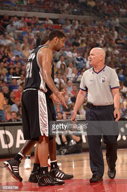 Tim Duncan of the San Antonio Spurs pleads his case to referee Joey Crawford against the Detroit Pistons in Game Three of the 2005 NBA Finals June 14...