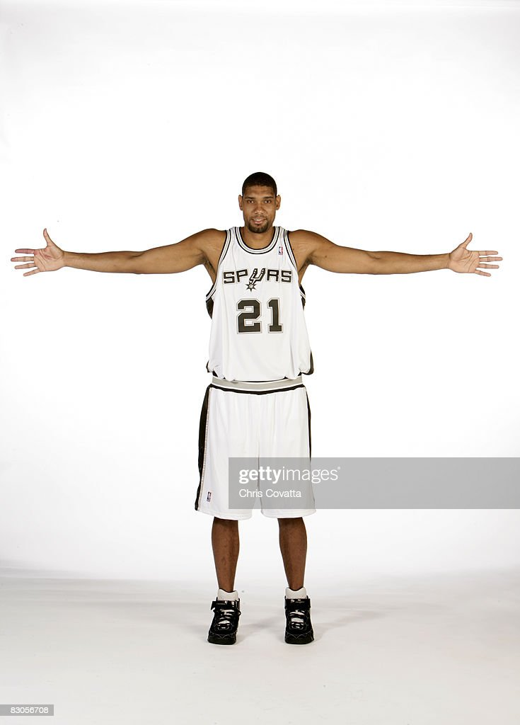 <a gi-track='captionPersonalityLinkClicked' href=/galleries/search?phrase=Tim+Duncan&family=editorial&specificpeople=201467 ng-click='$event.stopPropagation()'>Tim Duncan</a> #21 of the San Antonio Spurs poses for a portrait during NBA media day on September 29, 2008 at the Spurs Practice Facility in San Antonio, Texas.
